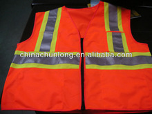 Adult's motorcycle safety vest with zipper