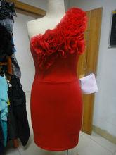 Real Sample Elegant Arabic Style 2012 Beaded Red One Shoulder Formalone shoulder rose red evening dress