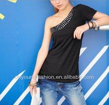 2012 Fashion One-Shoulder Sexy Women Beaded T Shirts