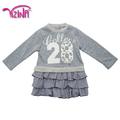 algodão novo estilo de vestido de aniversário para a menina do bebêimpressão vestido