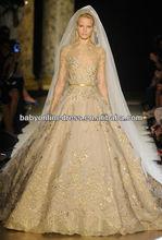 Custom Made 2012 Fall Elie Saab Luxurious Long Sleeve Nude Embroidery Ball Gowns Gold Wedding Dresses GD02