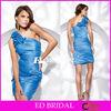 One Shoulder Neckline Above Knee Length Charmeuse Sheath Cheap Evening Dress