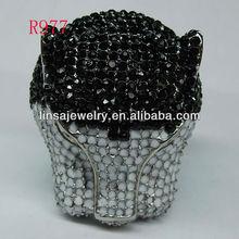 Custom Fashion Casting Panther Head Glue Rhinestone Stainless Steel Ring