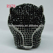 Fashion Cool Men Casting Animal Panther Head Stainless Steel Ring