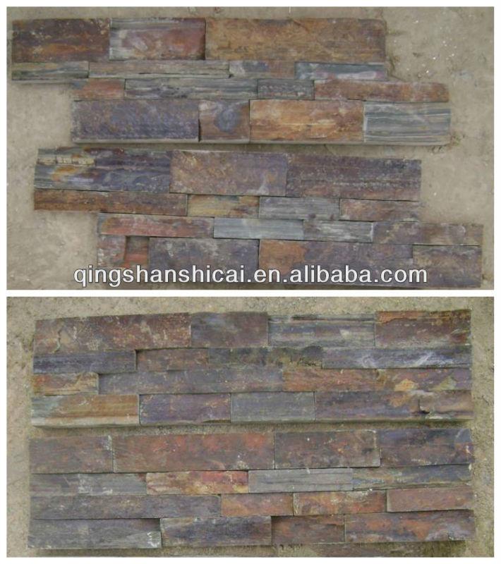 Mur ext rieur rugueuse ardoise rouill e empil s de carreaux de mur de brique - Panneau brique decorative ...