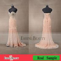 Real Sample Sweetheart Crystal Chiffon Sheath Evening Dress 2013
