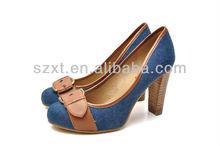 Ladies buckle Jean canvas stacked high heel women pump shoes