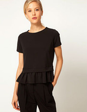 black Chiffon mature ladies short sleeve blouse,custom t-shirt,black fashion lady top
