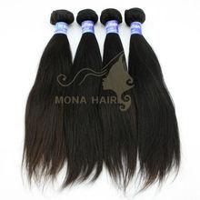 natural black/brown 16 inch Human hair straight silky weave 100g/bundle yaki wave wavy hair