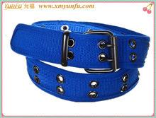 Factory Price Many eyelet Blue fashion fabric belts men belts