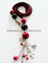 fashion cord necklace with large beads for women