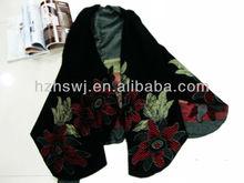 Fashion big flower jacquard cashmere acrylic shawl scarf