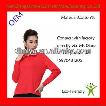 2012 en çok satan polo gömlek/bayan düz uzun kollu polo t shirt/kırmızı pamuktan yapılmış polo t shirt
