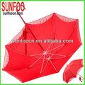 chino rojo de novia de paraguas recta