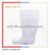 Men's PVC Steel Toe Cap Knee High White Safety Rain Boots