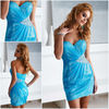 Blue Chiffon Over Sequined Strapless Mini cheap cocktail dresses for juniors