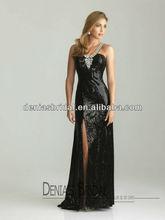 2013 New Arrival Black Sheath Side Slit V Neckline Rhinestones Beaded Court Train New Model Evening Dresses