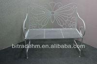 metal white butterfly garden bench