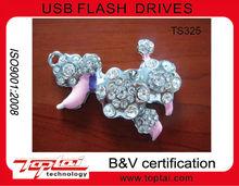 Hot sell good gift promotional dog crystal usb flash drive, pen drive, usb memory