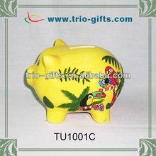 Cute ceramic piggy bank souvenir gifts parrot design