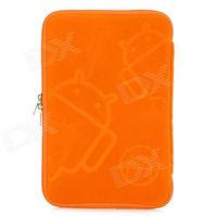 Robot Pattern Protective Sponge Dual Zipper Bag Case for iPad Mini / 7'' Tablets - Orange