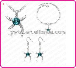 Green crystal sea star charm bracelet earring necklace set (T100527)