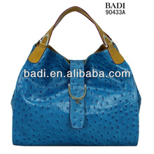New arrival ladies ostrich leather fashion hobo handbag satchel high quality factory price
