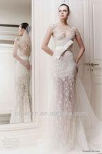2014 new! Queue de poisson col v sash bouton retour applique zuhair murad robes de mariée très sexy 2013 wd012
