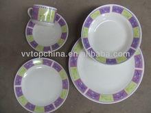 20pcs porcelain dinner set with decals,white dot porcelain dinnerware