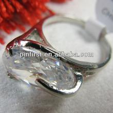 novo design anéis claro brilhante pedra de cristal barato anéis anéis de prata