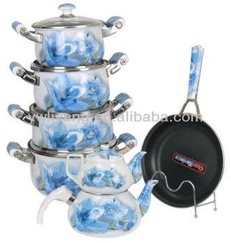 High Quality Porcelain Handle Cast Iron Blue Orchid Decal enamel Non-stick Cookware set