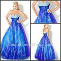 2014 nova strapless vestidos sweetheart handmade flor azul royal lantejoulas organza inchados vestidos de baile pd053