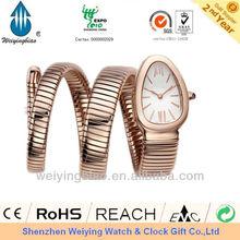 2013 golden snake shape rose gold watch