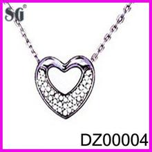 Hollow heart engraving silver pendant_Delicate design heart shaped pendant_Good quality zircon silver pendant