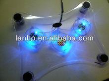 Blue LED Light 3 Fans Notebook Laptop Cooler Pad Heat away