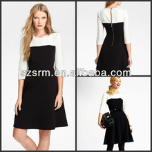 2013 Hot sale black white short new york 'olsen' colorblock fit & flare dress
