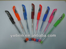 plastic color gel ink liquid pen with glitter box for office supply