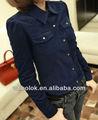 dama elegante de manga larga de pana blusas para mujer 2013