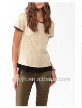 New short sleeve blouse ,ladies plain shirt brand 100% polyester running t-shirts