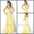De qualité supérieure a- ligne une épaule perles jaune en mousseline de soie longueur au sol retour zipper robe de soirée de mode 2014 ed041