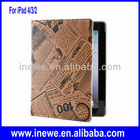 for New iPad 4 retro newspapers patterns folio leather case