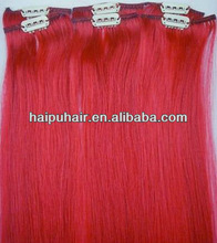22 inch red 100% Indian remy human hair clip in hair extension
