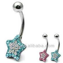 Bling Bling Glitzy Star men design diamond belly bar