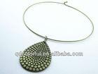 YN2772 antic brass alloy hoop with teardrop wire necklaces