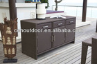 Outdoor rattan patio cabinet