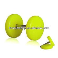 Body jewelry ear piercing yellow plain acrylic nickel free fashion fake ear plugs
