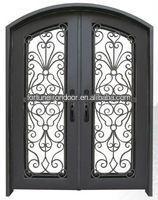 Wrought iron door designs mahogany solid wood door made in China factory