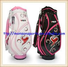 quality pu new design lady golf bag black white fashion