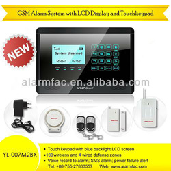 Wireless GSM SMS Touch Keypad Intruder Alarm System with Door Contact Motion Detector (YL-007M2BX)