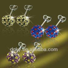 Crystal Ball Earrings Stud Disco Ball Piercing